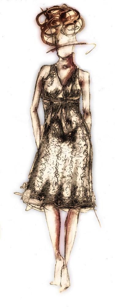 croquis robe de mariée en dentelle création Berric Anais