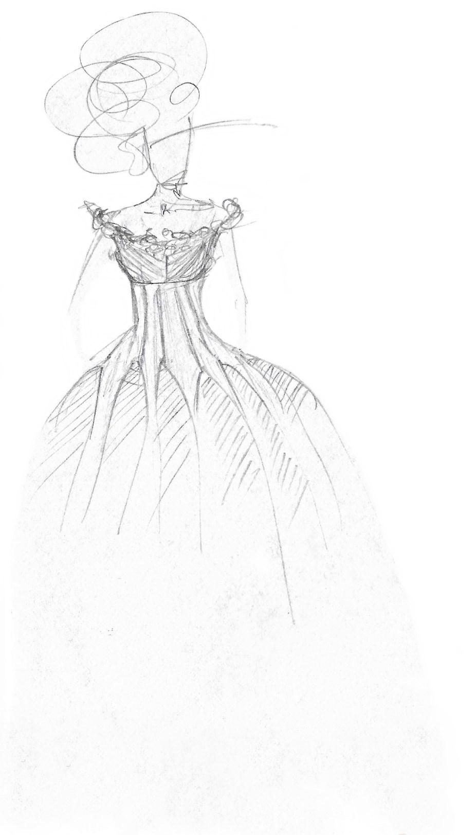 croquis robe de mariée créations uniques Berric Anais