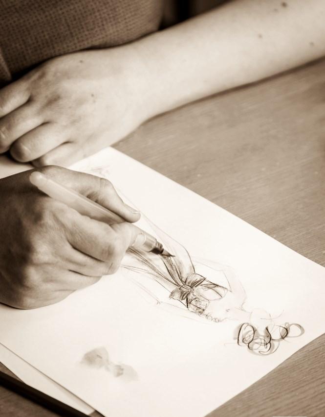 dessin création robe de mariée